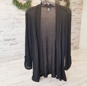 Bobeau Black Knit Open Cardigan Long Sleeve